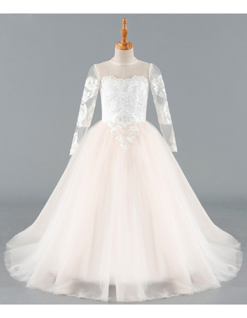 Stunning Ball Gown Floor Length Flower Girl Dress with Long Sleeves