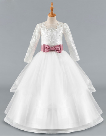 Discount Ball Gown Long Flower Girl/ Communion Dress with Belt