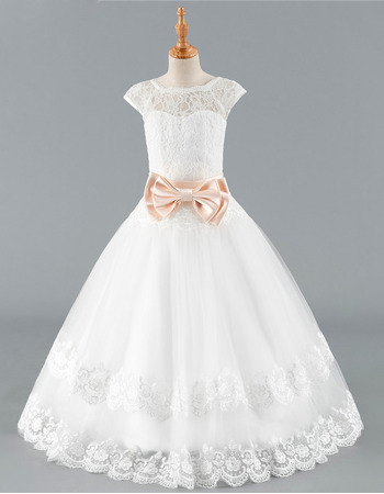 Stunning Ball Gown Floor Length Lace Flower Girl Dress with Belts