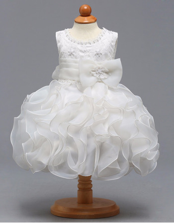 Custom Knee Length Ruffle Skirt Flower Girl Dress for Wedding