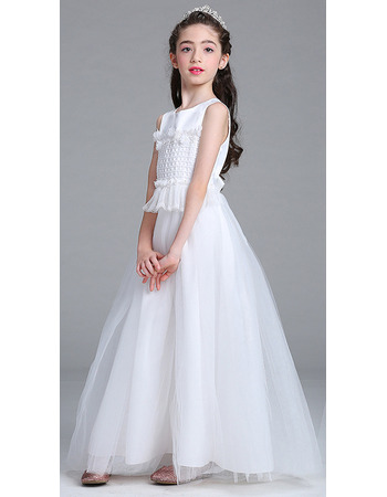 Inexpensive A-Line Ankle Length Flower Girl Dress for Wedding