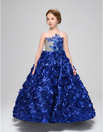 Stunning A-Line Ankle Length Floral Skirt Little Girls Party Dress