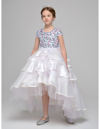 2019 New Style High-Low Asymmetric Beading Little Girls Party Dress