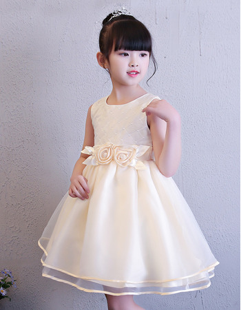 2019 Style Ball Gown Mini/ Short Flower Girl Dress for Wedding
