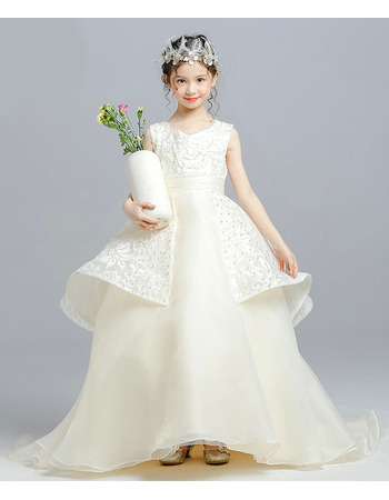 Custom Ball Gown Floor Length Lace Organza Little Girls Party Dress