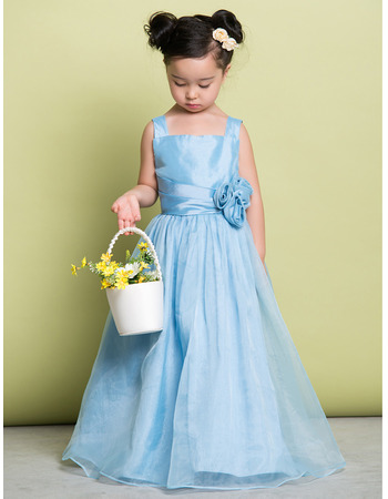 Discount Straps Floor Length Taffeta Flower Girl Dress for Wedding