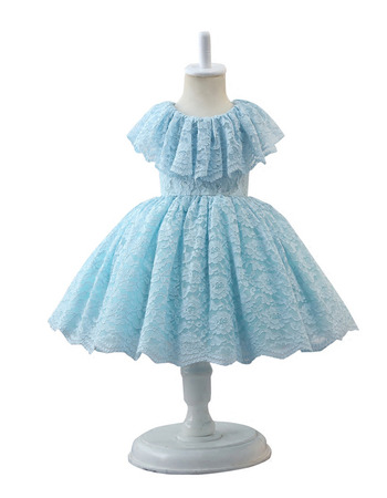 Lovely Ball Gown Knee Length Lace Little Girls Easter Dress