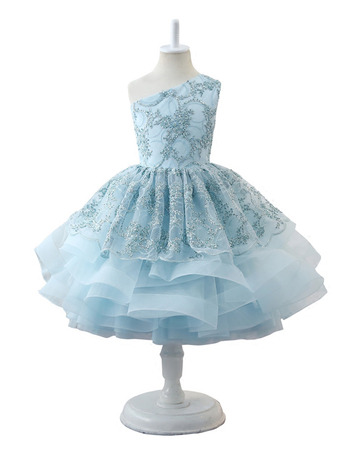 2019 New One Shoulder Knee Length Little Girls Party Dress