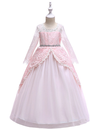 Inexpensive Ball Gown Long Sleeves Long Little Girls Party Dress