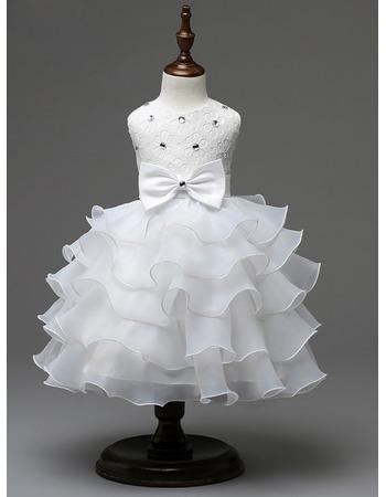 Custom A-Line Tea Length Ruffle Skirt Organza Flower Girl Dress