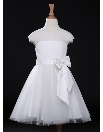 Custom A-Line Knee Length Organza Flower Girl Dress for Wedding