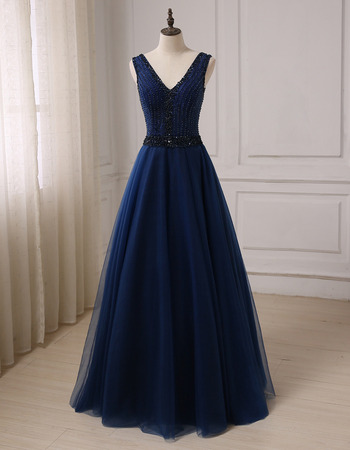 Affordable A-Line V-Neck Floor Length Prom/ Party/ Formal Dress