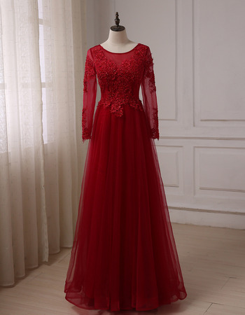 Elegant Floor Length Prom/ Party/ Formal Dress with Long Sleeves