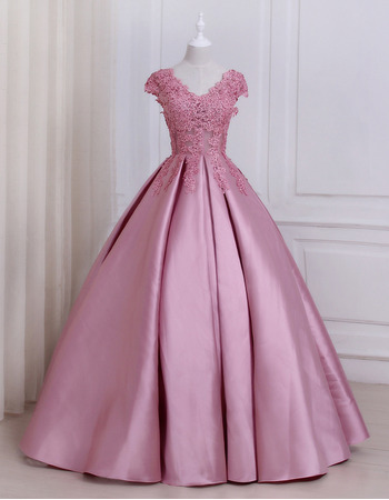 Elegant Ball Gown V-Neck Floor Length Prom/ Quinceanera Dress