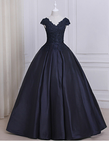 Custom Ball Gown V-Neck Floor Length Prom/ Quinceanera Dress