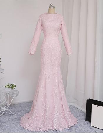 2019 Mermaid Floor Length Prom/ Formal Dress with Long Sleeves