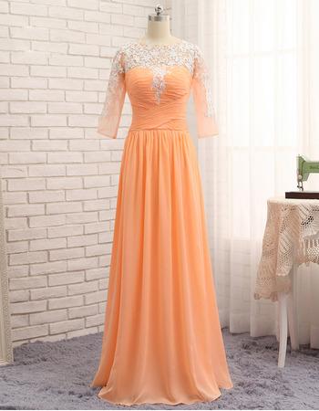 Custom Floor Length Chiffon Prom/ Formal Dress with 3/4 Long Sleeves