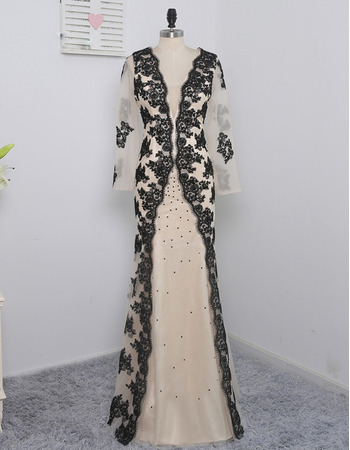 Affordable V-Neck Floor Length Chiffon Prom Dress with Embroidery