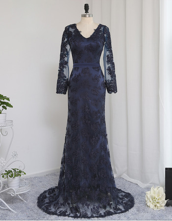 Sexy Sheath V-Neck Floor Length Lace Prom Dress with Long Sleeves