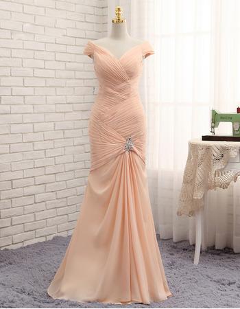 Custom Mermaid V-Neck Floor Length Chiffon Pleated Prom Dress
