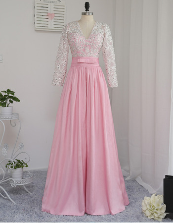 Discount V-Neck Floor Length Prom/ Formal Dress with Long Sleeves
