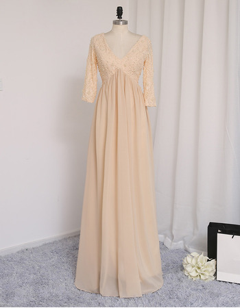 Inexpensive V-Neck Long Chiffon Prom Dress with 3/4 Long Sleeves