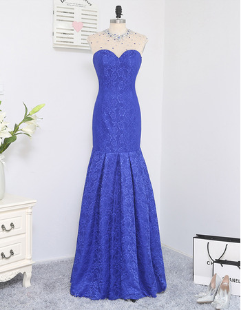 2019 Style Mermaid Sweetheart Floor Length Lace Prom/ Formal Dress
