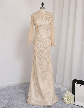 Custom Sheath Floor Length Lace Prom/ Formal Dress with Long Sleeves