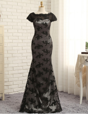 Affordable Mermaid Floor Length Lace Black Prom/ Formal Dress