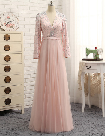 2019 New V-Neck Floor Length Prom/ Formal Dress with Long Sleeves