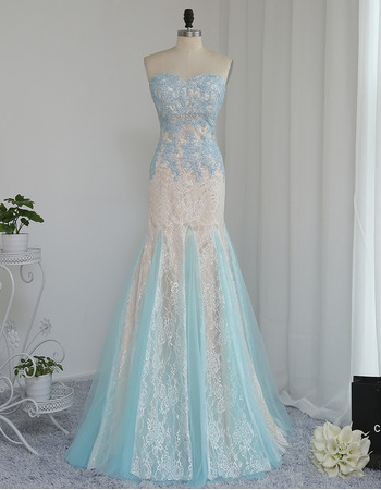 Discount Mermaid Sweetheart Long Lace Multi-Color Prom/ Formal Dress