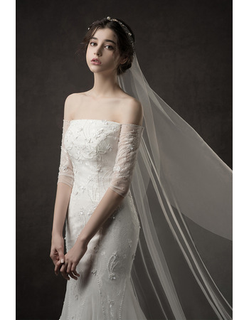 2019 Mermaid Off-the-shoulder Long Wedding Dresses with Sleeves