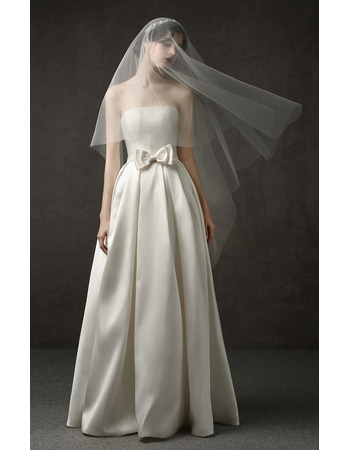 2019 New Style A-Line Strapless Floor Length Satin Wedding Dresses
