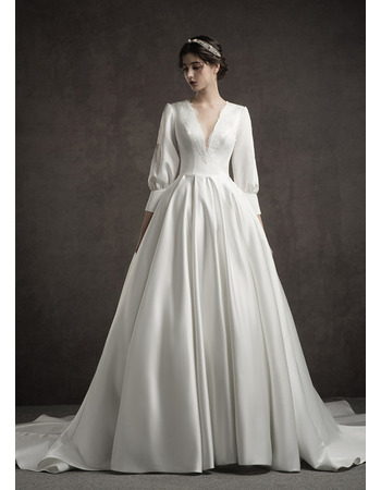 Custom A-Line V-Neck Long Satin Wedding Dresses with Long Sleeves