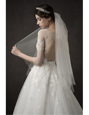 Discount A-Line Floor Length Wedding Dresses with 3/4 Long Sleeves