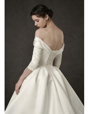 Vintage Off-the-shoulder Satin Wedding Dresses with 3/4 Long Sleeves