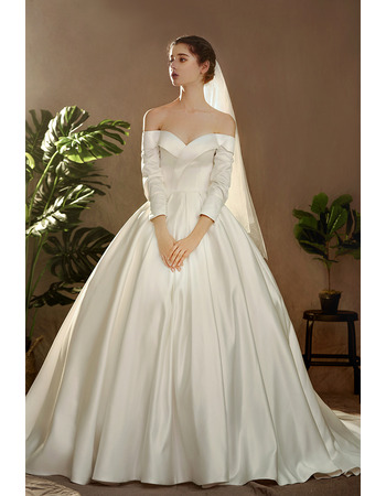 Vintage Off-the-shoulder Long Satin Wedding Dresses with Long Sleeves