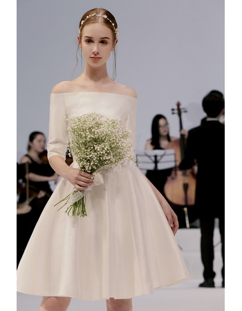 2019 New Style Off-the-shoulder Knee Length Wedding Dress with Sleeves