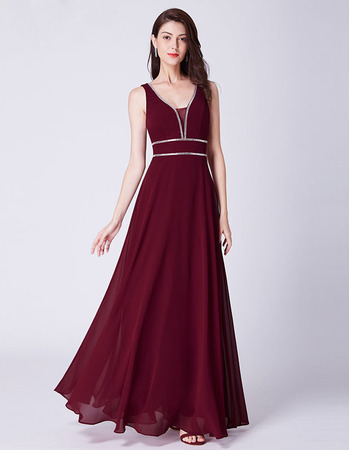 Elegant V-Neck Floor Length Chiffon Evening/ Prom/ Formal Dress