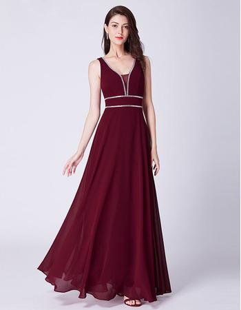 Elegant V-Neck Floor Length Chiffon Evening/ Prom/ Formal Dress