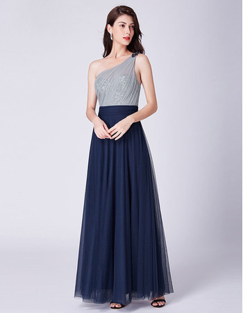 2019 New Style One Shoulder Floor Length Evening/ Prom/ Formal Dress
