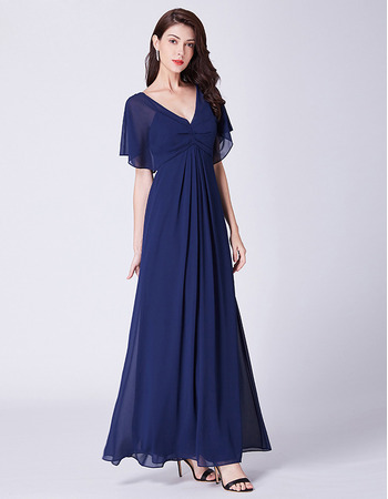 2019 New V-Neck Cap Sleeves Floor Length Chiffon Evening Dress