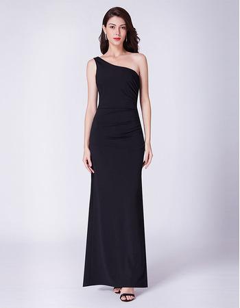 Custom One Shoulder Floor Length Black Evening/ Prom/ Formal Dress