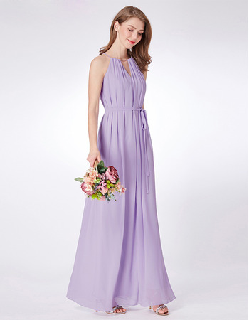 2019 Style Floor Length Chiffon Evening/ Prom/ Formal Dress with Belt