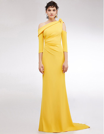 Custom One Shoulder Floor Length Evening Dress with 3/4 Long Sleeves