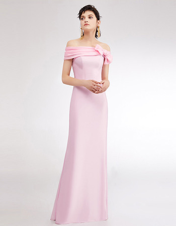 Affordable Off-the-shoulder Floor Length Satin Evening/ Prom Dress