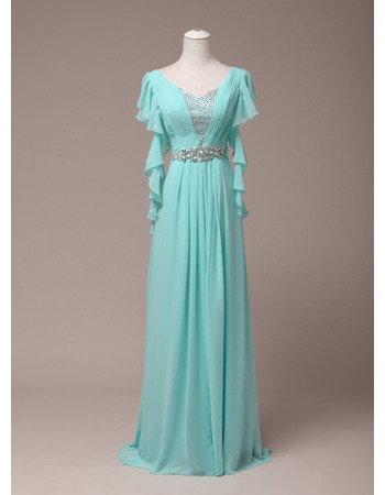 Elegant V-Neck Floor Length Chiffon Evening/ Prom Dress with Ruffle