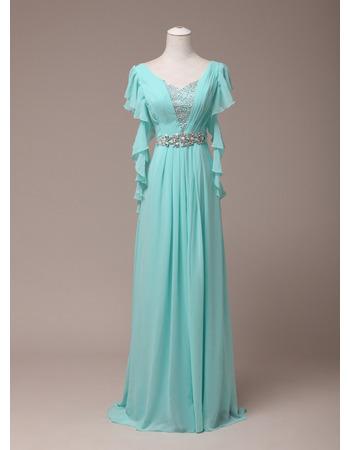 Elegant V-Neck Floor Length Chiffon Evening/ Prom Dress with Ruffle