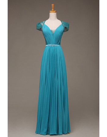 Custom Sweetheart Floor Length Evening Dress with Cap Sleeves