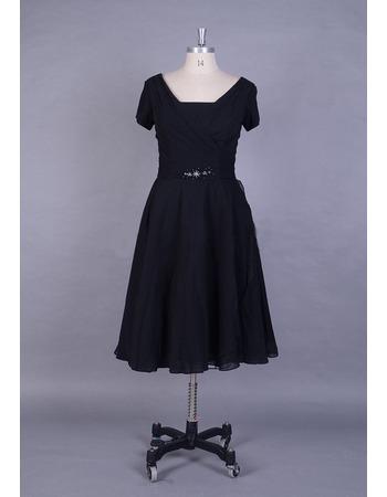 Vintage Short Sleeves Knee Length Chiffon Mother Dress for Wedding
